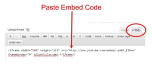 Pasting Youtube Embed Code