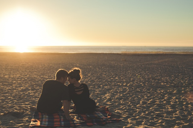 Beach Dating- Boy and Girl Kissing